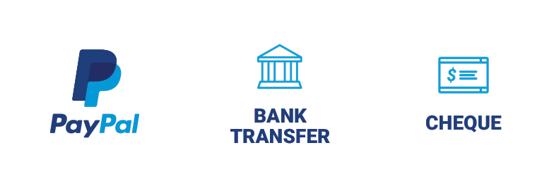 Payment Methods : Paypal, Bank Transfer, Cheque